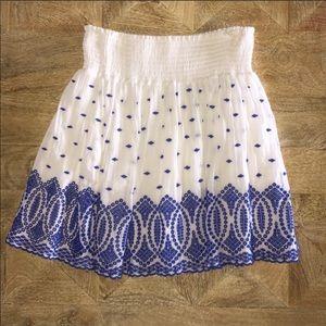 JCREW white embroidered skirt